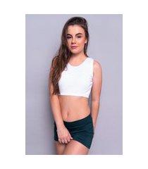 blusa cropped 4 estações feminino regata canelado liso casual basico branco