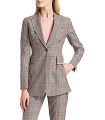 akris punto women's gash wool plaid jacket - size 12