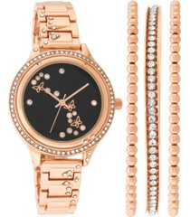 inc women's rose gold-tone butterfly crystal-accent bracelet watch 35mm & bangle bracelets set, created for macy's