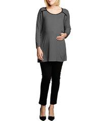 maternal america long sleeve nursing top, size medium in charcoal/black at nordstrom