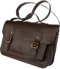 bolsa line store leather satchel grande couro marrom escuro.