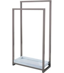 kingston brass pedestal 2-tier steel construction towel rack with wooden case bedding
