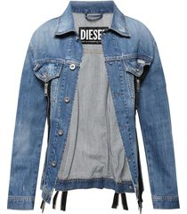 zipped denim jacket