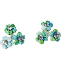 aretes azul y verde flores topoar-10928