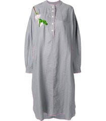 natasha zinko embroidered tunic dress - grey