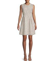 pleated tweed cotton-blend mini dress