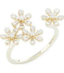 14k yellow gold & diamond flower wrap ring