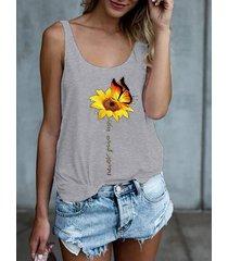 camiseta sin mangas con cuello redondo y mariposa de girasol