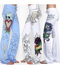 fashion women baggy skull rose printed pants hippie wide leg boho trousers