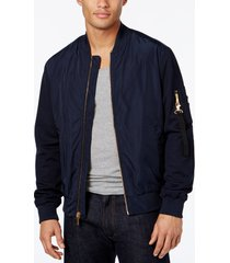 sean john men's navy blue pique sleeve zip-side pocket bomber jacket, large