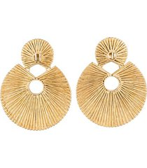 24k gold platedss double disc clip earrings, women's, josie natori