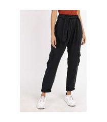 calça de sarja feminina cargo cintura alta com faixa para amarrar preta