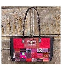 leather accented cotton shoulder bag, 'crimson congregation' (thailand)