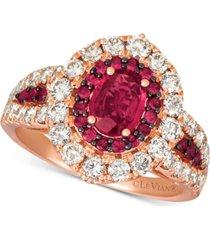 le vian certified ruby (1-1/5 ct. t.w.) & diamond (1-1/4 ct. t.w.) ring in 14k rose gold
