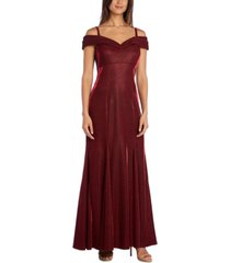 r & m richards cold-shoulder metallic mermaid gown