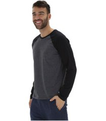 camiseta manga longa oxer básica - masculina - cinza escuro/preto
