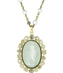 sylva & cie 18kt yellow gold diamond venetian glass cameo pendant