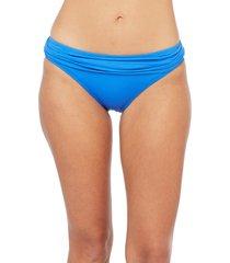 women's la blanca shirred banded hipster bikini bottoms, size 8 - blue