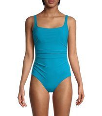 gottex women's ruched one-piece swimsuit - ocean blue - size 38 (8)