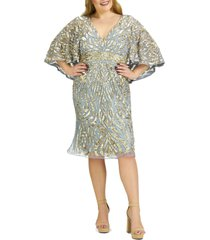 plus size women's mac duggal sequin capelet cocktail dress