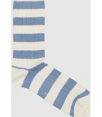 reiss nat - cotton blend striped socks in ecru/blue, mens