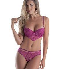 conjunto lingerie renda tanga tiras babado lilás