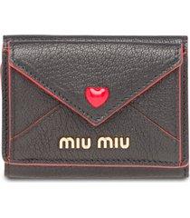 miu miu madras heart wallet - black