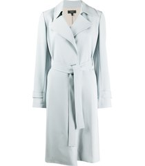 theory long sleeve belted trench coat - blue