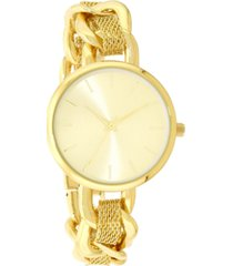 charter club women's gold-tone chain & mesh bracelet watch 32mm, created for macy's