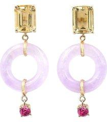 emerald cut munchkin drops jelly earrings