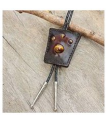 tiger's eye and leather bolo tie, 'earth medallion' (thailand)
