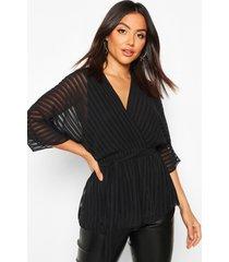 doorschijnende gestreepte wikkel blouse met ceintuur, zwart