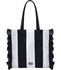 bawełniana torba w pasy z falbanką