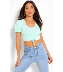 ruched tie front rib top, mint