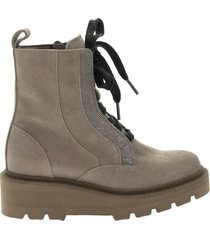 brunello cucinelli suede lace-up ankle boot with necklace