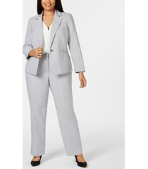 le suit plus size mini-herringbone pantsuit