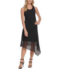 dkny mesh overlay maxi dress