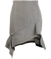 black and white deconstructed ruffle mini skirt