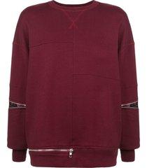 alexander mcqueen boxy zip detail sweatshirt - red