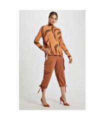 blusa de tricot pull zebra marrom boho