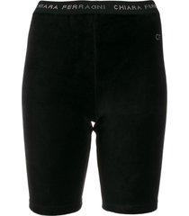 chiara ferragni velvet shorts - black