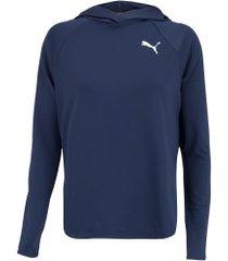 blusão com capuz puma active - feminino - azul escuro