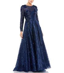 mac duggal long-sleeve embellished ball gown