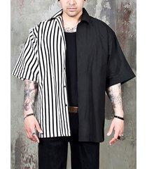 hombres manga corta a rayas de empalme negro camisa