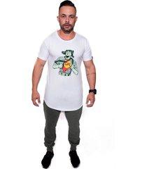 camiseta  longline kruger's concept chaves chapolin branco - branco - masculino - dafiti