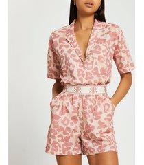 river island womens pink ri animal print shorts