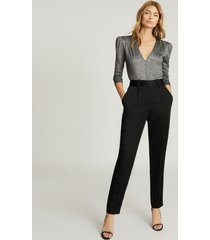 reiss elyssah - satin pleated trousers in black, womens, size 14
