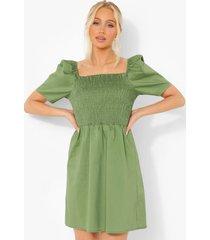 katoenen jurk met pofmouwen en open schouders, green