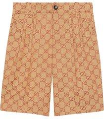 gucci beige bermuda shorts with logo trama
