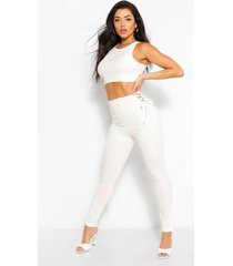skinny fit broek met zij veters, wit